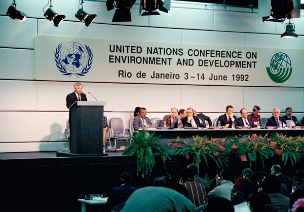 """1992 """"Earth Summit"""" United Nations Conference on Environment and Development held following decades of public awareness raising leadership by Earth Day founder Nelson."""