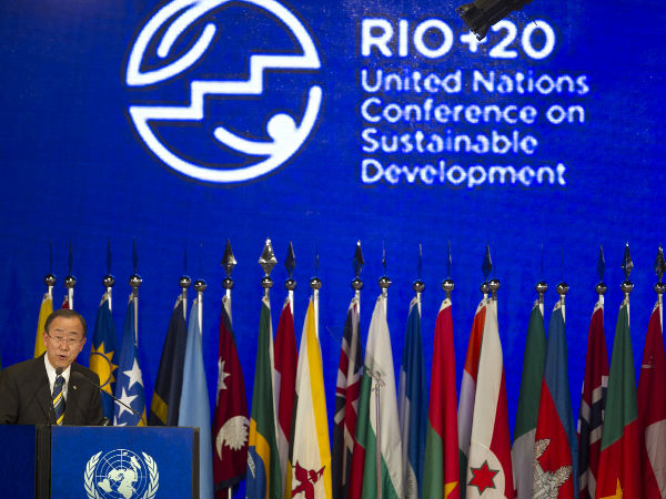 """United Nations Secretary General Ban Ki moon speaks at the 2012 United Nations """"Rio+20"""" Earth summit and Conference on Sustainable Development with over 130 heads of state and representatives from 181 countries"""