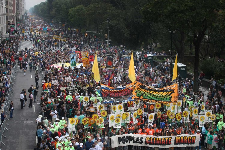 """Over 400,000 people march during """"Climate Week"""" in New York ahead of the UN General Assembly meetings in September 2014."""