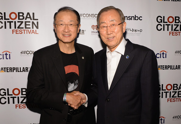 United Nations Secretary General Ban Ki moon and World Bank President Jim Yong Kim at Earth Day celebrations in Washington DC hosted by Global Citizen festival April 2015