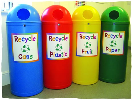 Modern recycling bins for children illustrate how recycling is part of everyday existence around the world thanks to Earth Day founder United States Senator Gaylord Nelson.