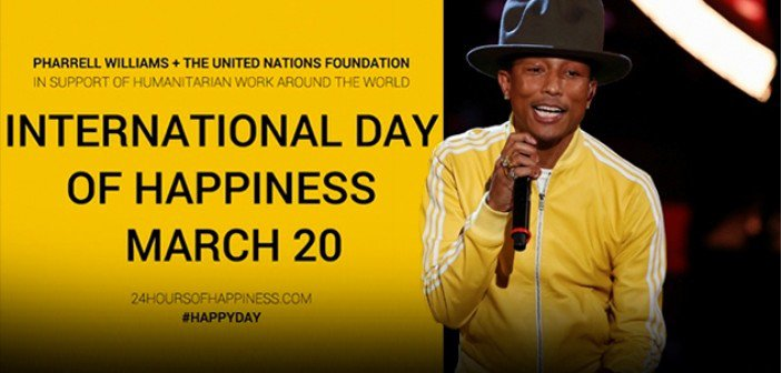 In 2014, United Nations Foundation and Pharrell partner for the 2nd International Day of Happiness in global campaign to raise awareness about happiness as a public policy objective and fundamental human right.